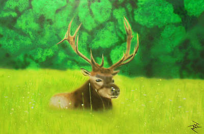 Elk In The Distance Art Print by Michael Hall