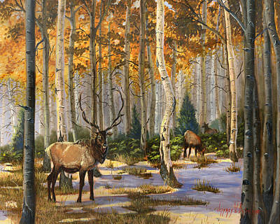Painting - Elk In The Gold by Jeff Brimley