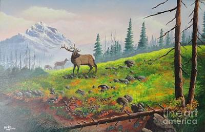 Elk In The Mist Art Print