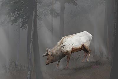 Elk In Velvet Fog Art Print