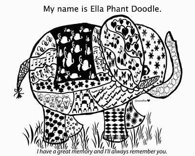 Drawing - Ella Phant Doodle by Quwatha Valentine