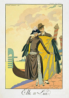 Flirtation Painting - Elle Et Lui by Georges Barbier