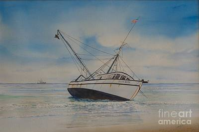 Aground Painting - Ellen Marie Beached by AnnaJo Vahle