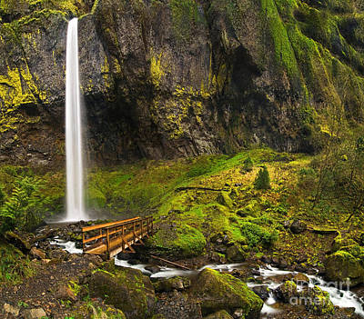 Elowah Photograph - Elowah Falls Panorama -  Columbia River Gorge In Oregon by Jamie Pham