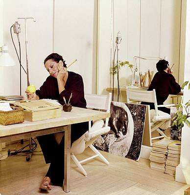 Italian Food Photograph - Elsa Peretti At Her Desk by Horst P. Horst