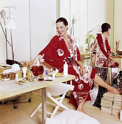 Photograph - Elsa Peretti Wearing A Red Kimono by Horst P. Horst