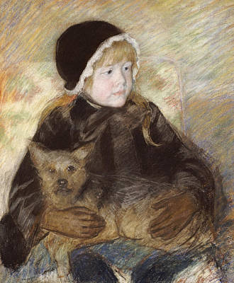Painting - Elsie Cassat Holding A Big Dog by Celestial Images