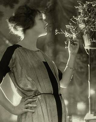Photograph - Elsie Ferguson With Potted Plant by Adolphe De Meyer