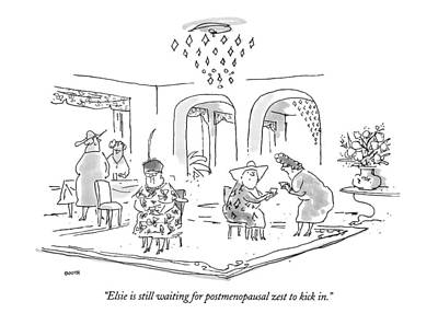 Old Ladies Drawing - Elsie Is Still Waiting For Postmenopausal Zest by George Booth