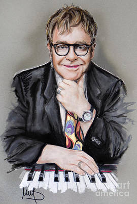 Musicians Mixed Media - Elton John by Melanie D