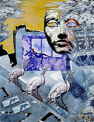 Art Print featuring the mixed media Elusive Gray Dream by Hartmut Jager