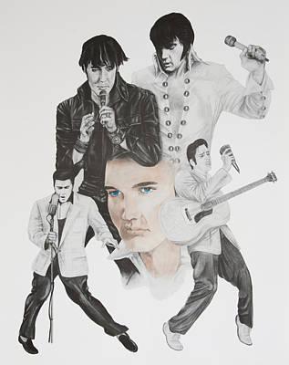 Elvis Presley Drawing Drawing - Elvis A Commemoration by Joe Lisowski