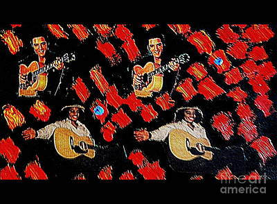 Elvis Elvis Michael Michael Red And Blue Notes Original by Richard W Linford