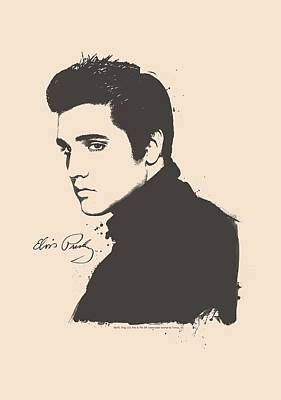 The King Digital Art - Elvis - Black Paint by Brand A