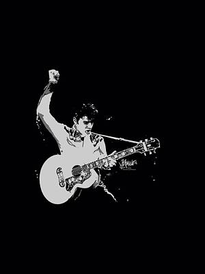 The King Digital Art - Elvis - Blackandwhite Guitarman by Brand A