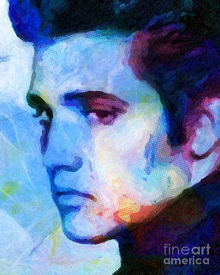 Elvis Blue Art Print by Lutz Baar