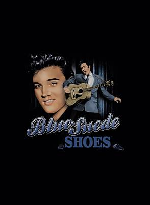 The King Digital Art - Elvis - Blue Suede Shoes by Brand A