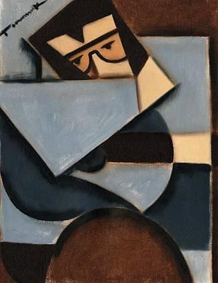 Cubist Painting - Tommervik Elvis Cubism Guitar Art Print by Tommervik