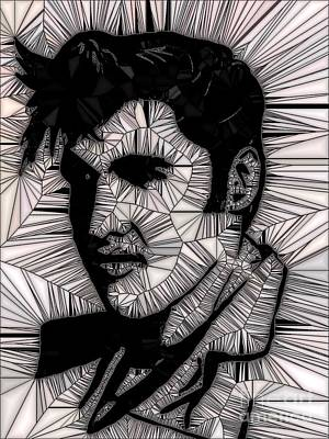 Painting - Elvis In Black And White  by Saundra Myles