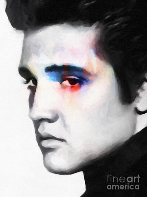 Portraits Mixed Media - Elvis by Lutz Baar