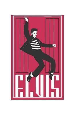 The King Digital Art - Elvis - One Jailhouse by Brand A