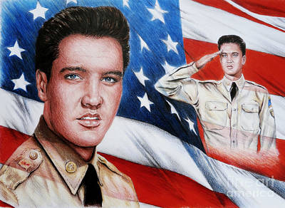 Famous Faces Drawing - Elvis Patriot  by Andrew Read