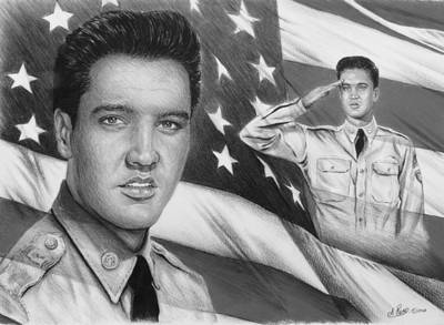 Flag Of Usa Drawing - Elvis Patriot Bw Signed by Andrew Read