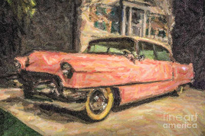 Digital Art - Elvis Pink Cadillac by Liz Leyden