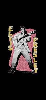 The King Digital Art - Elvis - Pink Rock by Brand A