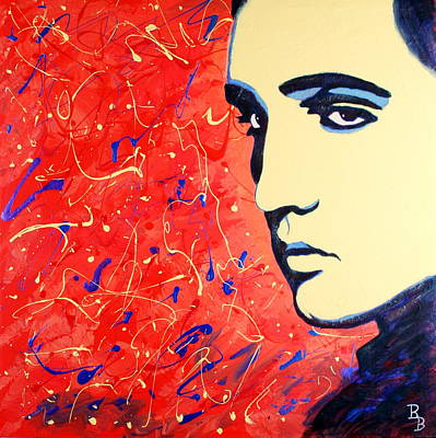 Painting - Elvis Presley - Red Blue Drip by Bob Baker