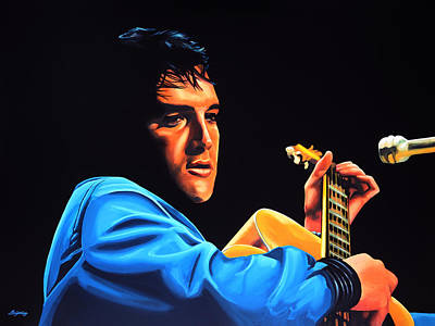 King Of Rock And Roll Painting - Elvis Presley 2 Painting by Paul Meijering