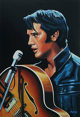 Suede Painting - Elvis Presley 3 Painting by Paul Meijering
