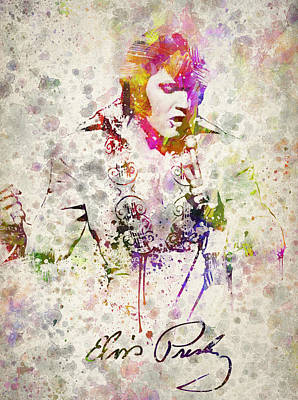 Musicians Digital Art Rights Managed Images - Elvis Presley Royalty-Free Image by Aged Pixel
