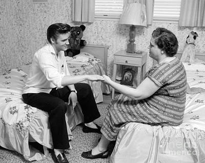Music Royalty-Free and Rights-Managed Images - Elvis Presley and his mother Gladys 1956 Cropped by The Harrington Collection
