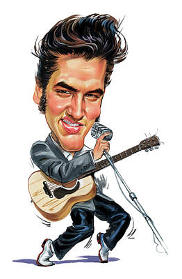 Rock And Roll Paintings - Elvis Presley by Art