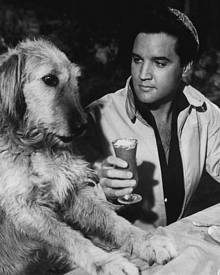 Elvis Presley Has A Milkshake With Dog Print by Retro Images Archive
