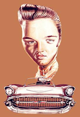Digital Art - Elvis Presley Illustration by Diego Abelenda