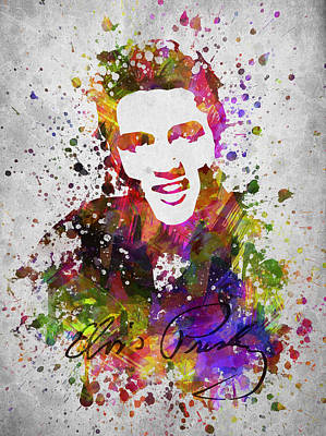 King Of Rock And Roll Drawing - Elvis Presley In Color by Aged Pixel
