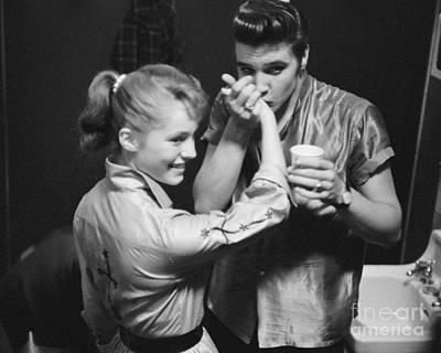 Elvis Presley Photograph - Elvis Presley Meets A Fan Backstage 1956 by The Harrington Collection