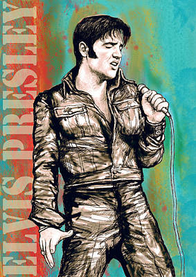 King Of Rock And Roll Drawing - Elvis Presley - Modern Art Drawing Poster by Kim Wang