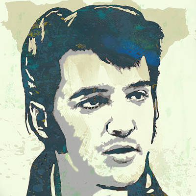 King Of Rock And Roll Drawing - Elvis Presley - Modern Pop Art Poster by Kim Wang
