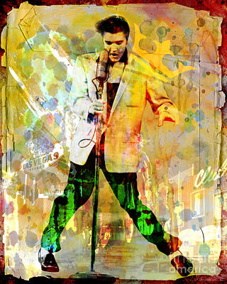 50s Painting - Elvis Presley Original Painting Print  by Ryan Rock Artist