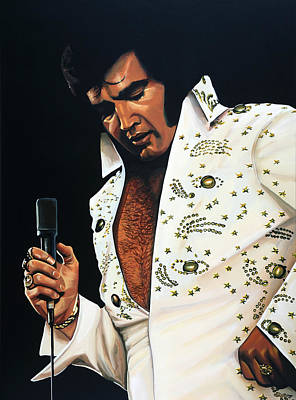 King Of Rock And Roll Painting - Elvis Presley Painting by Paul Meijering
