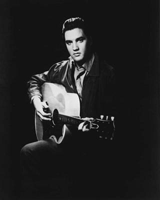 Graceland Photograph - Elvis Presley Playing Guitar by Retro Images Archive