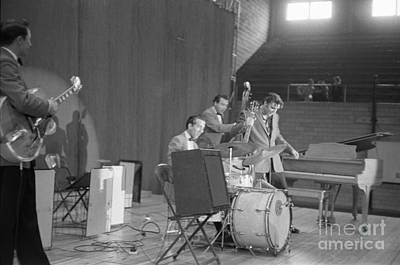 Musicians Photo Rights Managed Images - Elvis Presley Scotty Moore D.J. Fontana and Bill Black 1956 Royalty-Free Image by The Harrington Collection