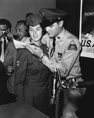 Movie Star Photograph - Elvis Presley Signs Autograph For Girl by Retro Images Archive