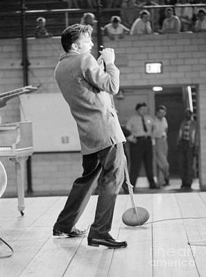 Elvis Presley Photograph - Elvis Presley Singing In Dayton In 1956 by The Harrington Collection