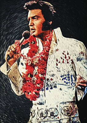 The King Digital Art - Elvis Presley by Taylan Apukovska