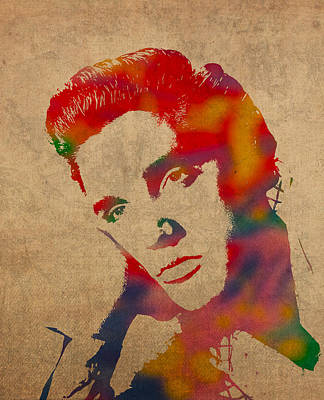 Elvis Presley Watercolor Portrait On Worn Distressed Canvas Art Print