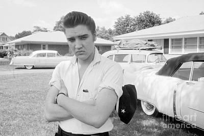 Music Photograph - Elvis Presley With His Cadillacs 1956 by The Harrington Collection
